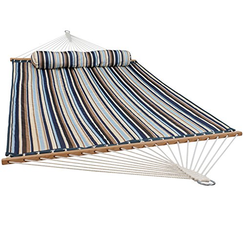 Sunnydaze Quilted Fabric Hammock Two Person with Spreader Bars Heavy Duty 450 Pound Capacity, Ocean Isle