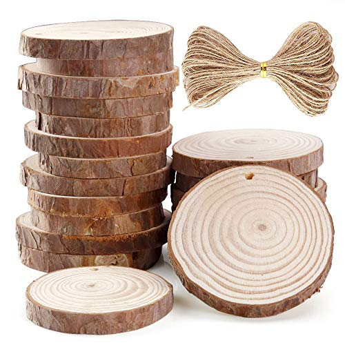 Natural Wood Slices,Wooden Round Patch 20 Pieces 6-7cm Unfinished Predrilled Wood Slices Round Log Discs with 33 Feet (Brown)