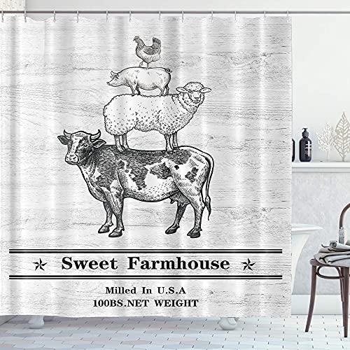 Homewelle Landhaus-Duschvorhang, rustikal, 60 B x 72 H, niedlich, lustig, Retro, Tier, Vintage, süßes Holzbrett, Kuh, Schaf, Schwein, Huhn, wasserdicht, 12 Haken, Polyester-Stoff, Badezimmer Badewanne