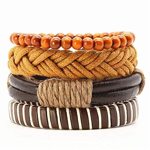 LLXXYY Stenen armband, natuursteen punk retro verstelbaar touw handgemaakte rode rups van gevlochten leer mannen armband vrouwen sieraden rok mannen accessoires 4 stuks per set
