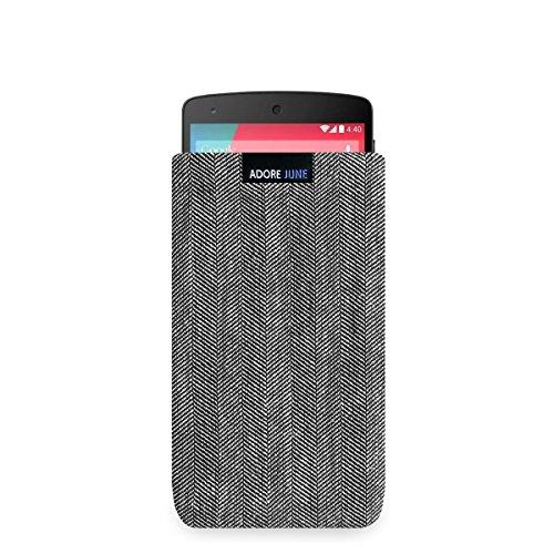 Adore June Business Tasche für Google Nexus 5 Handytasche aus charakteristischem Fischgrat Stoff - Grau/Schwarz | Schutztasche Zubehör mit Bildschirm Reinigungs-Effekt | Made in Europe