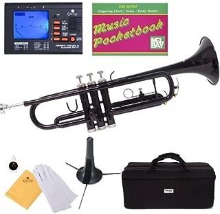Mendini MTT-BK Black Lacquer Brass Bb Trumpet + Tuner, Case, Stand, Mouthpiece, Pocketbook & More