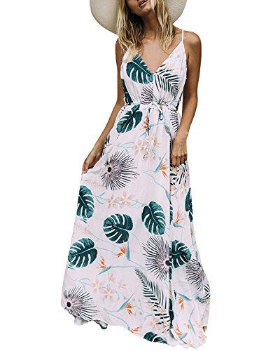 Auxo Damen Blumen Kleid Ärmellos V-Ausschnitt Kleider Lange Dress Party Club Strandkleid Weiß 1 EU 46/Etikettgröße 2XL