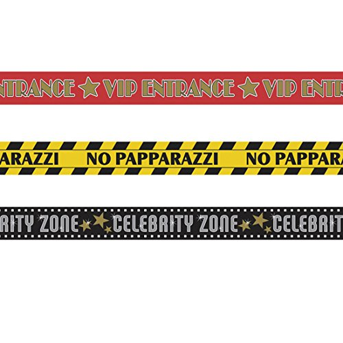 NET TOYS 3 STK. x 9 m Party Absperrband Hollywood Banner VIP Partybanner Mottoparty Flatterband Deko Warnband
