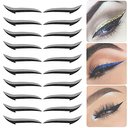 Wiederverwendbare Eyeliner-Aufkleber, 10 Paar Instant Cosmetic Outline Winged, unsichtbarer selbstklebender Eye Line Strip-Aufkleber Einfache und schnelle Augenlid-Make-up-Tools (Grau)