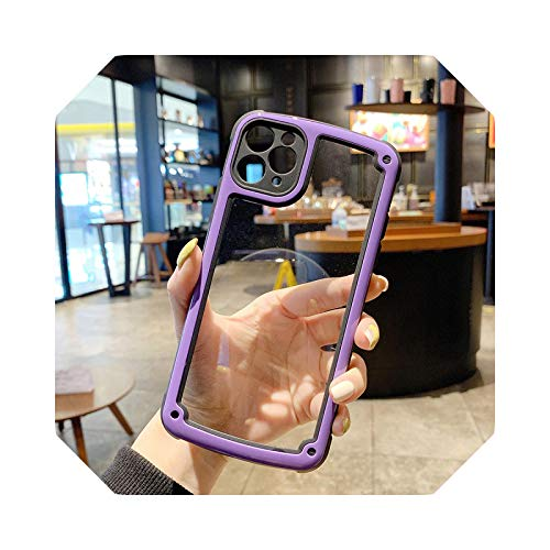 Luxury - Carcasa transparente para iPhone 11 12 Pro Max Mini se 2020 X XR XS Max 7 8 Plus Camera Candy Color Cover Case Purple-for iPhone 8 Plus