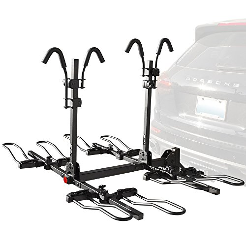 BV 4-Bike Bicycle Hitch Mount Rack Carrier for Car Truck SUV - Tray Style Smart Tilting Design (4-Bike Carrier)