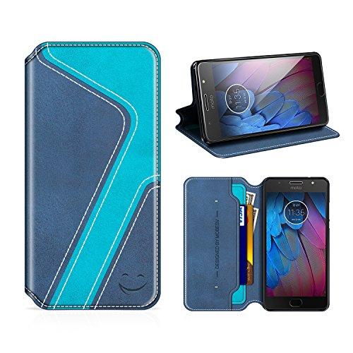 MOBESV Smiley Motorola Moto G5S Hülle Leder, Motorola Moto G5S Tasche Lederhülle/Wallet Hülle/Ledertasche Handyhülle/Schutzhülle mit Kartenfach für Motorola Moto G5S, Dunkel Blau/Aqua