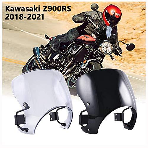 FATExpress Parabrezza per Moto Parabrezza Cupolino Deflettori del Vento Protezione Schermo antimosche per Kawasaki Z900RS Z900 RS Z 900 RS Accessori 2018 2019 2020 2021 18-21(Fumo Chiaro)