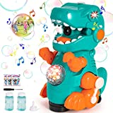 Dinosaur Bubble Machine for Toddlers Kids with sound and Light Effects, Mobile & Stationery Two Settings, Leakage Free, Bubble Machine for Kids Girls Boys, Includes Two Bottles of Bubble Solution