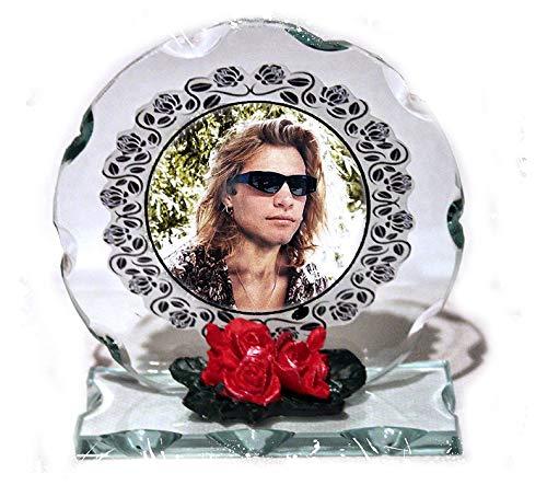 Jon Bon Jovi, Foto Schnitt Glas rund Rahmen Plaque & Weiße Roses LIMITED EDITION # 1