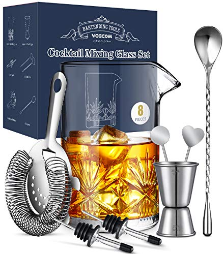 Cocktail Mixing Glass, veecom 18oz Crystal Mixing Glass Bartender Kit, 8 Piece Old Fashioned Cocktail Set with Strainer, Spoon, Jigger, Picks, Pourers, Bar Tools Cocktail Shaker Set (8 Pieces)