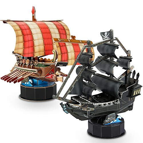 CubicFun 3D Model Ship and Boat Puzzles for Adults and Kids, Small 2-in-1 Toy Gift Set for 8 Year Old Children, Roman Warship and Queen Anne's Revenge