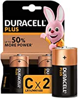 Duracell Plus C, Pilas Alcalinas , paquete de 2, 1,5 Voltios LR14 MN1400