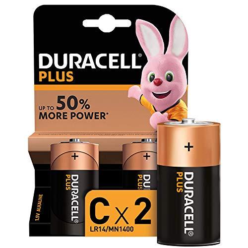 Duracell - Plus C, Pilas Alcalinas (paquete de 2) 1.5 Voltios LR14 MN1400
