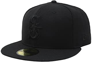 New Era 59Fifty Hat Seattle Mariners Black on Black Fitted Cap 11591102