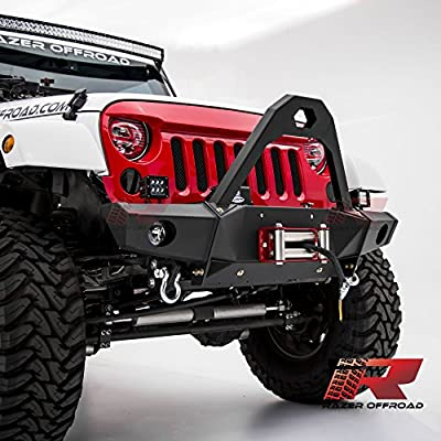 Razer Auto 07-17 Jeep Wrangler JK Black Textured Rock Crawler Stinger Front Bumper with OE Fog Light Hole, 2x D-Ring & Winch Mount Plate