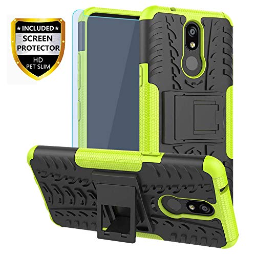LG K40 Case,LG Xpression Plus 2,LG Solo,LG X4 2019,K12 Plus Case with HD Screen Protector, SKTGSLAMY[Shockproof]Tough Rugged Dual Layer Protective Case Hybrid Kickstand Cover for LG Harmony 3 (Green)