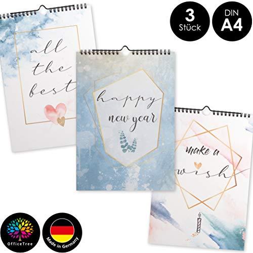OfficeTree 3 Bastelkalender zum Selbstgestalten im Aquarell Design – Kalender DIY in Din A4 – Immerwährender Kalender zum Selbstgestalten – Blanko Kalender zum Aufhängen
