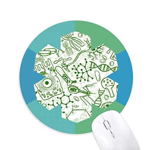 Green Microscope Cells Structure Biological Round Rubber Blue Snowflake Mouse Pad