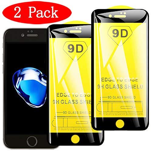 Stilluxy - Protector de Pantalla para iPhone 6 y 6S (2 Unidades, Cristal Templado, 9H, sin Burbujas), Color Negro