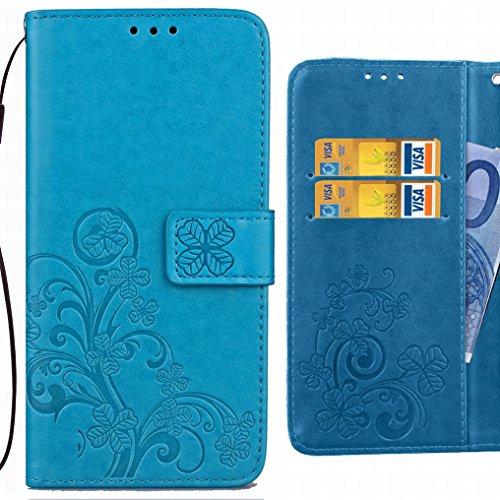 Ougger Handyhülle für Huawei Honor 6C Pro Tasche Glückliche Blätter Beutel Brieftasche Schutzhülle PU Leder Weich Magnetisch Silikon TPU Cover Schale für Huawei Honor 6C Pro mit Kartenslot (Blau)