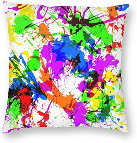 Fodere decorative per cuscini - Fodere per cuscini quadrati di lusso Fodere per cuscini per divano auto - Schizzi di vernice, 18 x 18 pollici