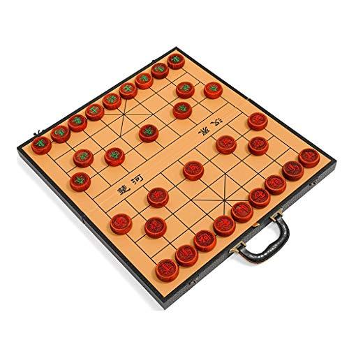 XiYou Juego de ajedrez Chino de Madera Maciza con Caja de Regalo Tablero Plegable Almacenamiento Interno, Regalo para Padre, líder (Palo de Rosa de Birmania, L)