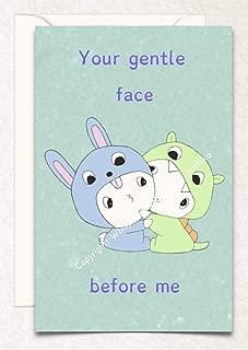 Dragon Bunny Hugging Birthday, Love, Valentine's Day, Anniversary, Hand Drawn Original Poetry Greeting Card
