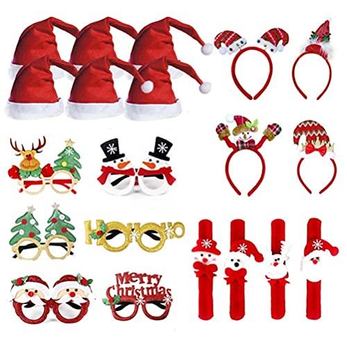 J-ouuo Juego de 20 diademas de Navidad, gorro de Navidad, gafas, diadema, anillo de pollo, pulsera, disfraz de Navidad, diadema, accesorio para regalo para adultos y nios