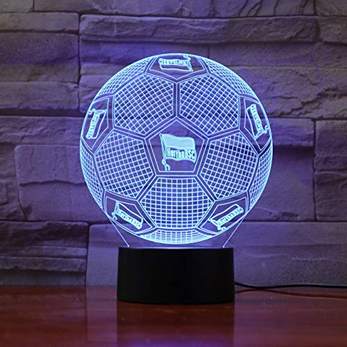 Fußball Team Fc Hertha Berlin 3D Illusion Led Nachtlicht Jungen Kinder Baby Geschenke Bundesliga Fußball Tischlampe Nachttischdekoration