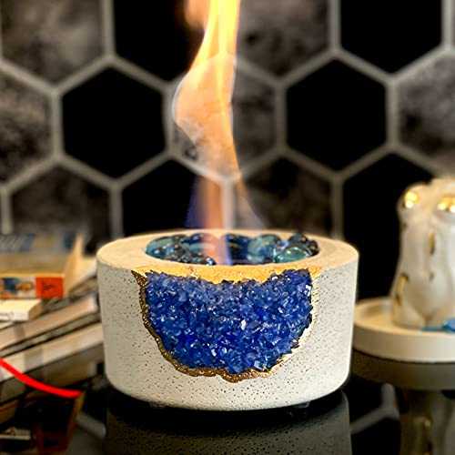 Tabletop Fireplace with Amethyst | Indoor Rubbing Alcohol Bio Ethanol Mini Fire Bowl Pit Outdoor Decor Portable Table Top Small Chiminea Meditation Bowl Geode Candle Holder Boho Concrete Pot