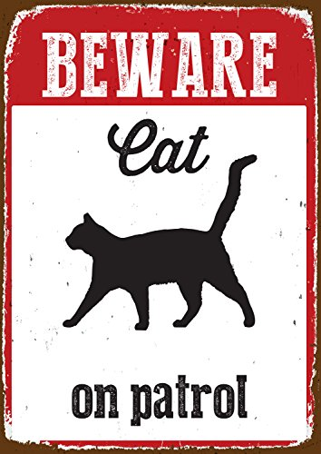 Magnet & Steel Blechschild - Beware Cat on Patrol