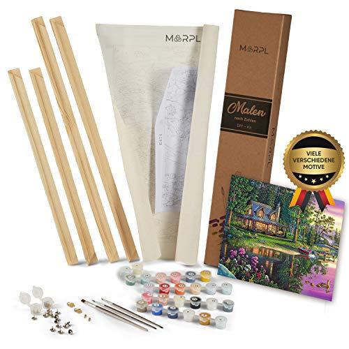MARPL® Malen nach Zahlen Erwachsene [DIY-Kit] mit Rahmen - Malset mit vorgedruckter Leinwand für Gemälde Acrylfarben Kreativ Motiv 40 * 50cm Haus im Wald