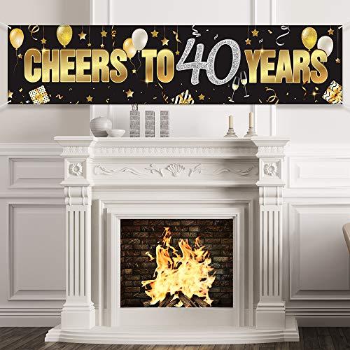 40. Geburtstag Banner, Alles Gute zum 40. Geburtstag Prost auf 40 Jahre Geburtstag Zeichen Gold Glitzer Geburtstag Banner, Jubiläum Feier Hintergrund Party Dekoration Lieferungen für 40 Geburtstag
