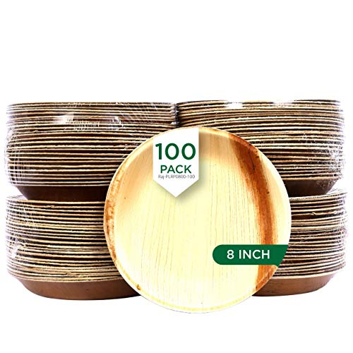 Raj Palm Leaf Plates [100-Pack] 8' Round Plates like Bamboo plates Disposable, Strong, Decorative Compostable Tableware for wedding, Lunch, Dinner, Birthday, Camping, Outdoor BBQ, Picnic