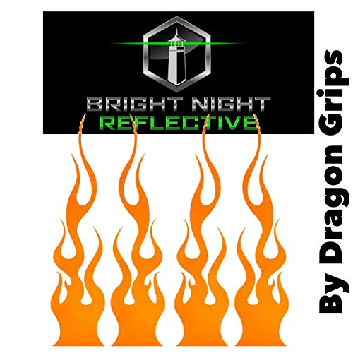 """Reflective Flame Set of (4) 1.25""""x5.25"""" Great for Helmets, Motorcycles, Computer Stickers, Phone, Tablet, Hard hat (Orange)"""