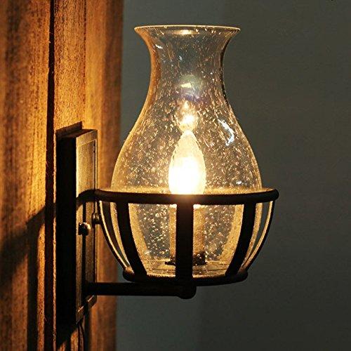 5151BuyWorld Fashion Decoratie antieke wandlamp-licht glazen vaas vorm wijnoogst lantaarn keroenen slot Candle Light