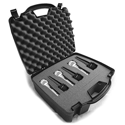 Casematix Estojo rígido com microfone cardioide dinâmico e vocal com espuma interna densa personalizável para 6 microfones Shure SM58, SM57, Beta 58A, PG48, PGA58 e mais