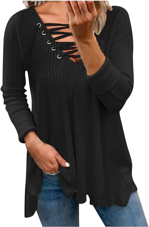 Women's Solid Color Bandage V-Neck Shirts Long Sleeve Irregular Hem Blouse Tops Casual Loose Tunic Tops Tops