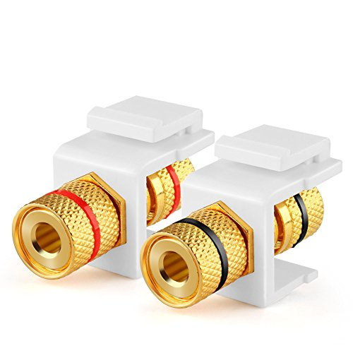 TNP Banana Jack Keystone Insert (Set of 2) - Stereo Speaker Banana Connector Binding Post Snap In Adapter Socket Female Port Inline Coupler For Wall Plate Outlet Panel, 2 Channel Black + Red