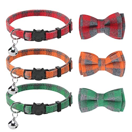 PUPTECK Bowtie Cat Collars Breakaway with Bell - 3 Pack Cute Plaid Adjustable Cat Bow Tie Collars...
