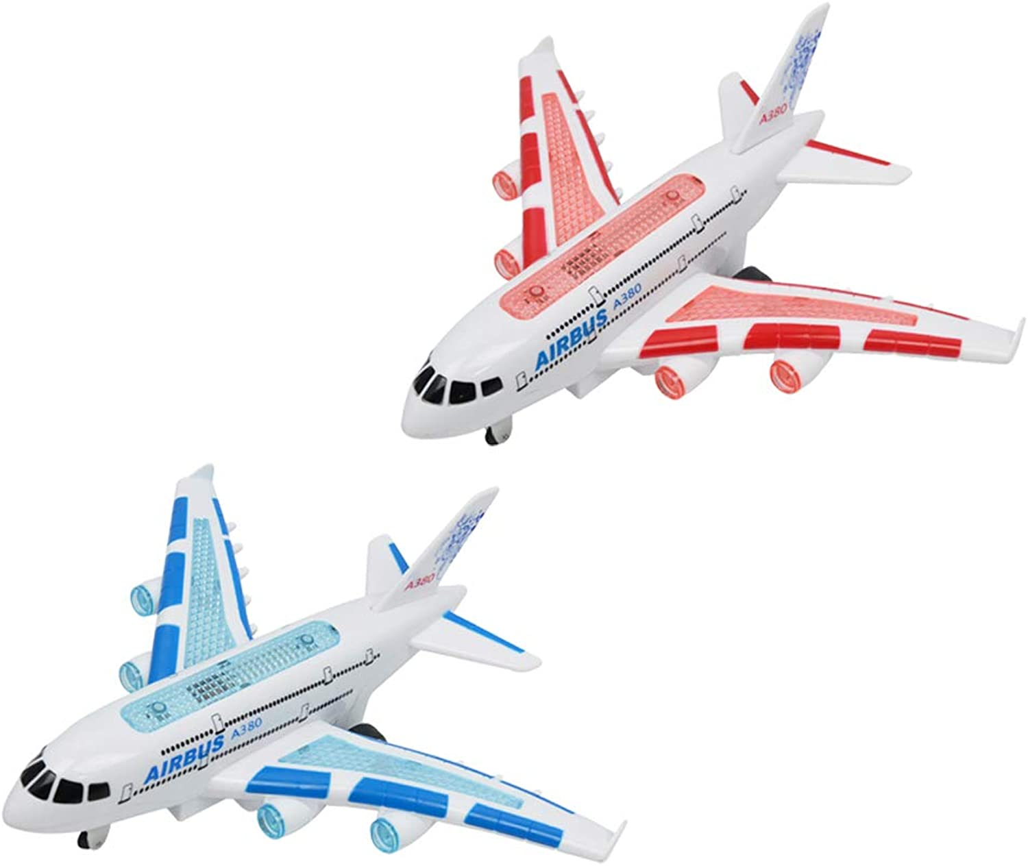 D DOLITY RC Airplane Airbus A380 Toy with Flashing Light & Realistic Jet Engine Sound Boys Kid Gift - 2Set