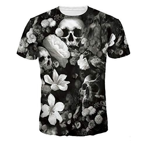 Camisetas,Camiseta De Manga Corta para Hombre Flor Y Cráneo Camisa De Verano 3D De Secado Rápido Unisex Negro XL