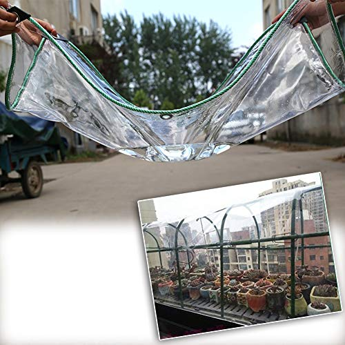 MAHFEI Tarpaulin Waterproof Heavy Duty, 0.5mm Thick PVC Clear Tarpaulin with Corner Protectors Tarpaulin Sheet Cover with Eyelet Ground Sheet Covers for Plant Greenhouse