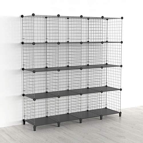 SIMPDIY Aufbewahrung Regalsystem, Drahtgitter Steckregal, 16 Fächer Bücherregal Kleiderschrank, kinderzimmer standregal steckregal (Weiß, 93 x 31 x 62cm)