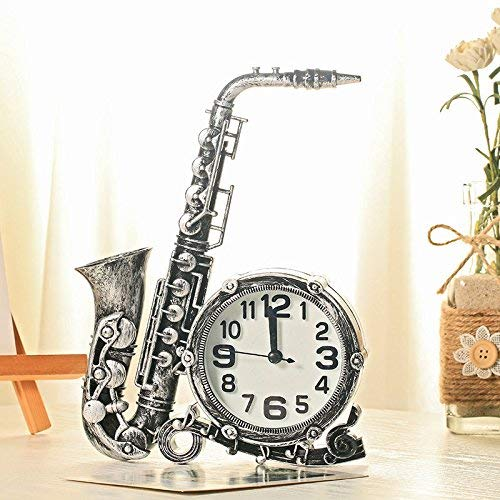 ZXL Home Decor Saxofoon Modeling Alarm Klok Digitale Klok Rond Nummer Ronde Bureau Alarm Klok Kinderen, Vintage Zilver