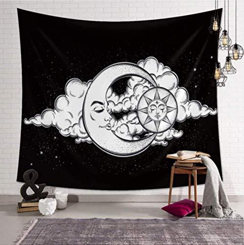 QIAO Tapiz de Poli¨¦ster Mandala Bohemia Colgante de Pared Luna Nube Negra Esteras de Yoga Decoraci¨n de Toallas de Playa 150X200Cm