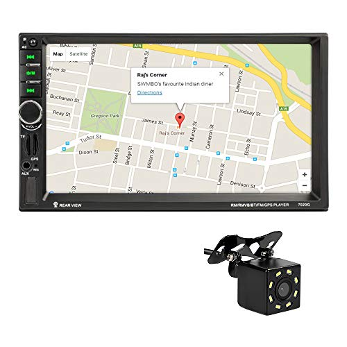 MiCarBa 2 Din 7 Zoll Auto Stereo Touchscreen Autoradio-Video-Player, HD-Auflösung 1024 * 600 Multimedia-Video, GPS-Navigation mit 8 LEDs unterstützen Kamera und Fernbedienung