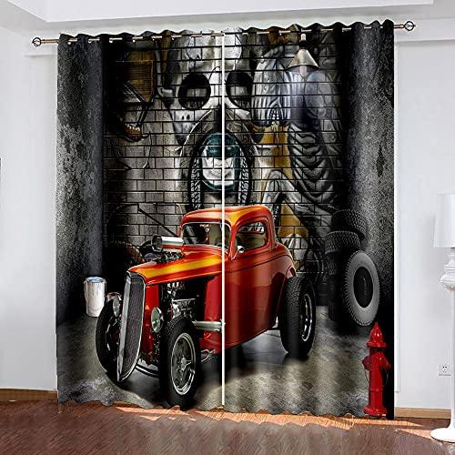LWXBJX Cortinas Dormitorio Opacas Suaves con Ojales - Gris Graffiti Coche - Impresión 3D Aislantes de Frío y Calor 90% Opacas Cortinas - 200 x 160 cm - Salon Cocina Habitacion Niño Moderna Decorativa